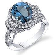 Peora 3.25 Carats Oval Shape London Blue Topaz Gallery Ring in Sterling Silver
