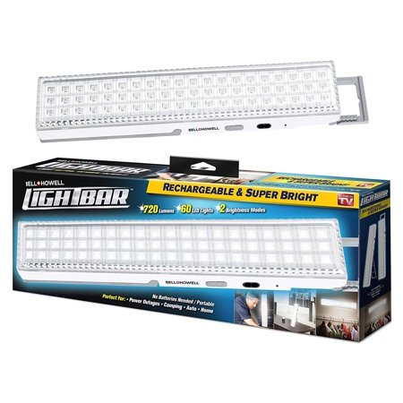 Light Bar Bell + Howell 60 LED Rechargeable, Weather-Proof Lighting - As Seen On TV (White)