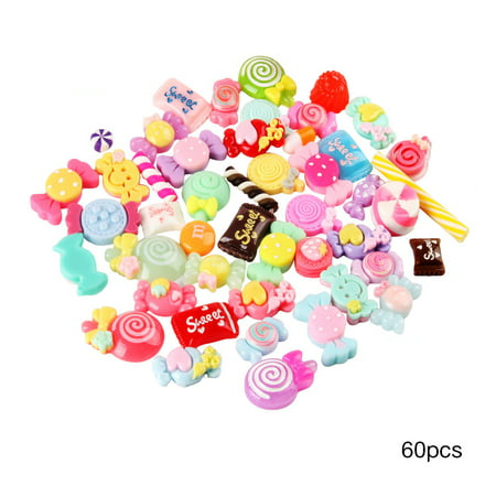 60 Pieces Slime Charms Mixed Candy Sweets Resin Flatback Slime Beads Making Supplies for DIY Scrapbooking