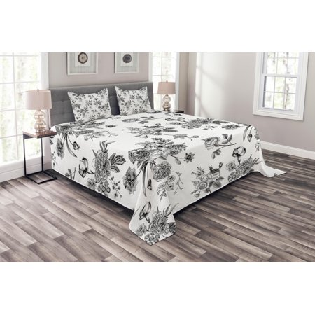 Black and White Bedspread Set, Vintage Floral Pattern Victorian Classic Royal Inspired New Modern Art, Decorative Quilted Coverlet Set with Pillow Shams Included, Black and White, by Ambesonne ()