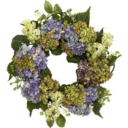 """22"""" Hydrangea Wreath, Purple/Green"""