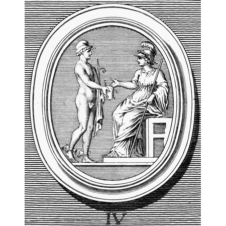 Mercury And Minerva Nmercury  Greek Name Hermes  Offering His Purse To Minerva Who Takes Moderately Out Of It Copper Engraving French Late 18Th Century Rolled Canvas Art     18 X 24