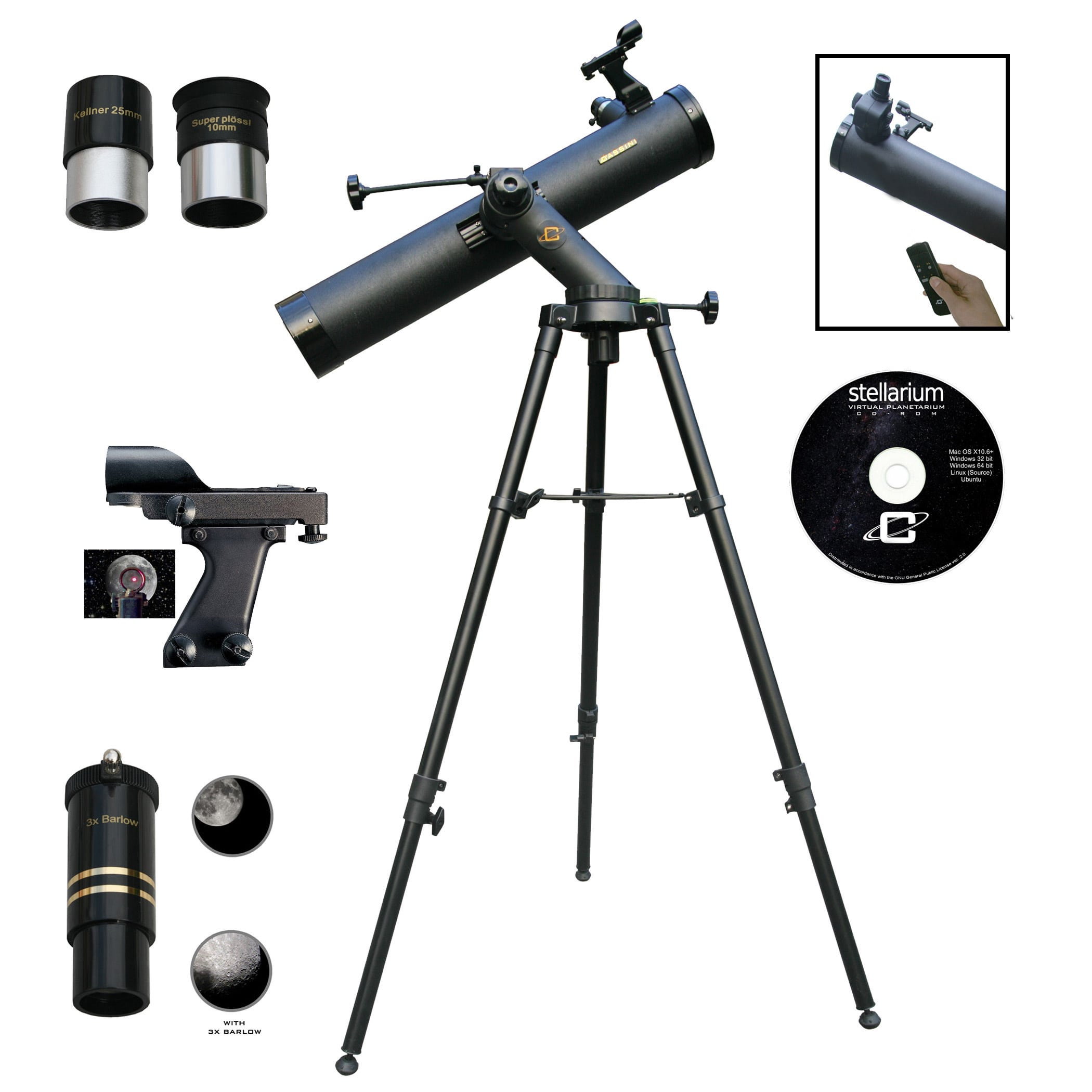 CASSINI  80080TREF 800mm x 80mm Astronomical Reflector Telescope + Electronic Focus HandBox Kit