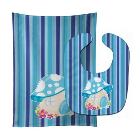 Fairy House Blue Stripes Baby Bib & Burp Cloth BB6911STBU