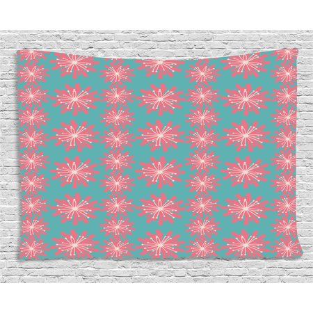Outdoor Decor Tapestry, Germinating Plants Wildflowers Twigs Sprouts Buds Lively Rustic Patio, Wall Hanging for Bedroom Living Room Dorm Decor, 60W X 40L Inches, Teal Pink White, by Ambesonne