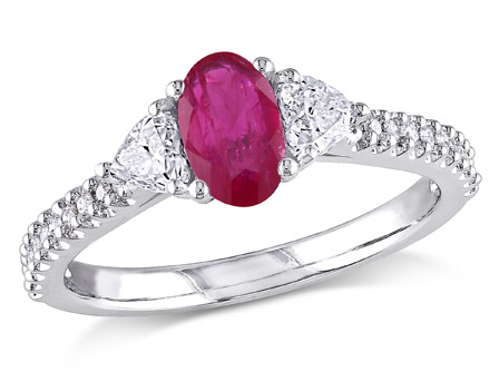 Tangelo 3 5 Carat T.G.W. Ruby and 1 2 Carat T.W. Diamond 14kt White Gold Three-Stone Engagement Ring by Delmar Manufacturing