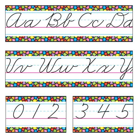 Trend Enterprises Stained Glass Alphabet Line Zaner-Bloser Cursive Cut Out American Brilliant Cut Glass