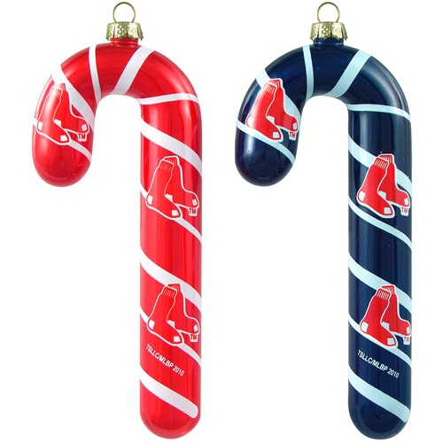Topperscot MLB Boston Red Sox Blown Glass Candy Cane Set, Set of 2