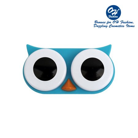 OH Fashion Contact Lens Case Owl style, Blue travel case , 1 pc, eyecare , contact lens , contact storage - Halloween 1 Day Contact Lenses