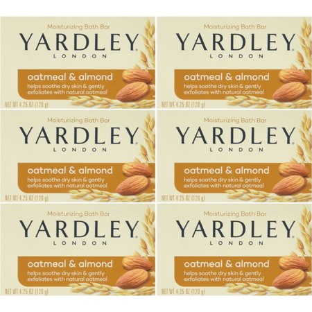 Yardley London Soap Bath Bar Oatmeal & Almond 4.25 Oz 120 G Pack of 6 Almond Organic Bar Soap