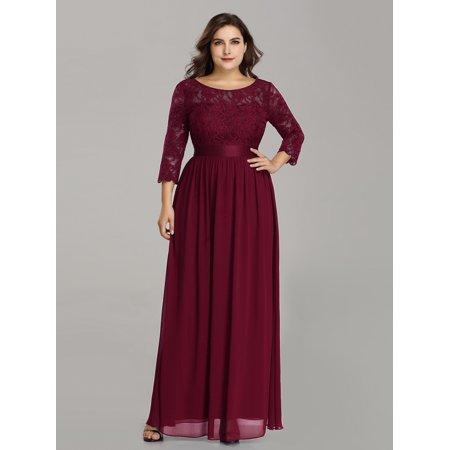 Ever-Pretty Women\'s Plus Size Vintage Floral Lace Long Formal Evening Party  Wedding Guest Dresses for Women 7412P US 18