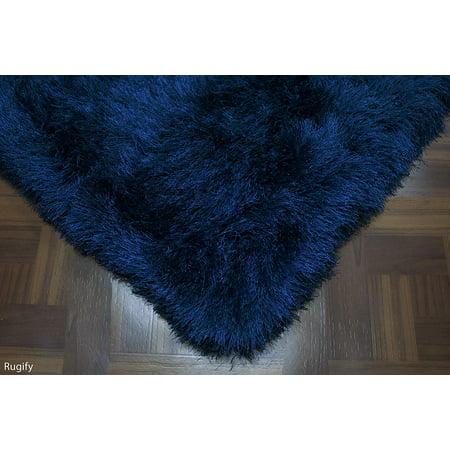 Shag Shaggy Fluffy Fuzzy Furry Flokati Navy Blue Dark Blue Carved Modern Ultra Thick Soft Plush 5x7 (5' x 7') Feet Area Rug Carpet Contemporary Polyester SALE ( GLORIOUS NAVY