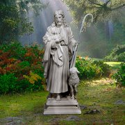 Design Toscano Jesus the Good Shepherd Religious Garden Statue, Grand, 43 Inch, Polyresin, Antique Stone