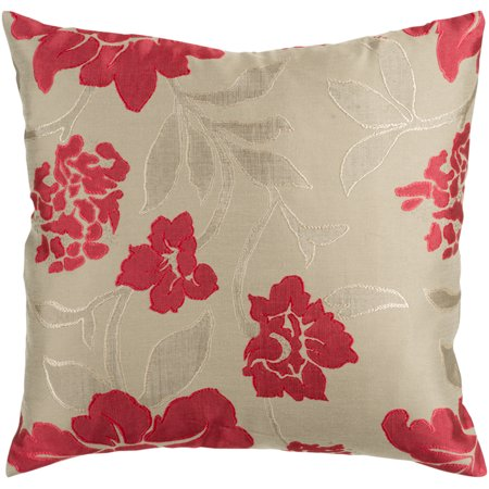"""Surya HH047-2222 Blossom 22"""" Wide Square Botanical Polyester Accent Pillow Cover"""