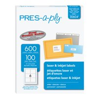 "PRES-a-ply White Labels, 1/2"" x 1-3/4"", Permanent-Adhesive, 8000 labels"