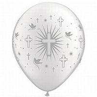"12  White Silver Printed Around Baptism or Communion  Balloon 11"""