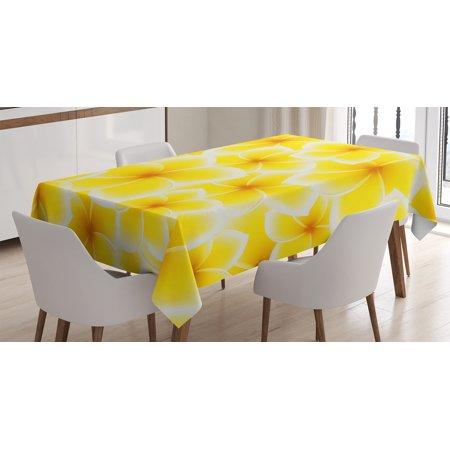 Yellow Decor Tablecloth Plumeria Frangipani Asian Cute Flower Blossom Pattern Hawaiian Artwork Rectangular Table