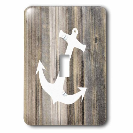3dRose Image of White Anchor On Weathered Planks - Single Toggle Switch