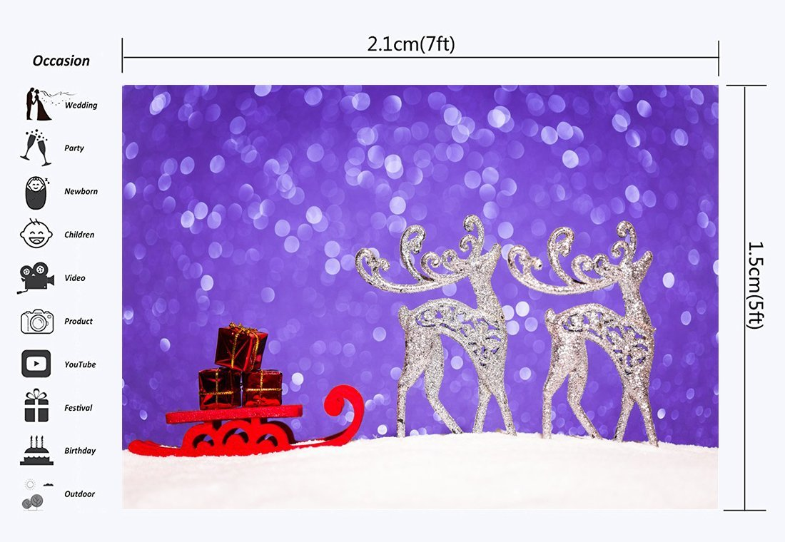 GreenDecor Polyster 7x5ft Photography Backdrop Christmas Gifts Box Sled  Silver Reindeer Lavender Glitter Sequins Bokeh Halos Snow Xmas Backdrops  Kids