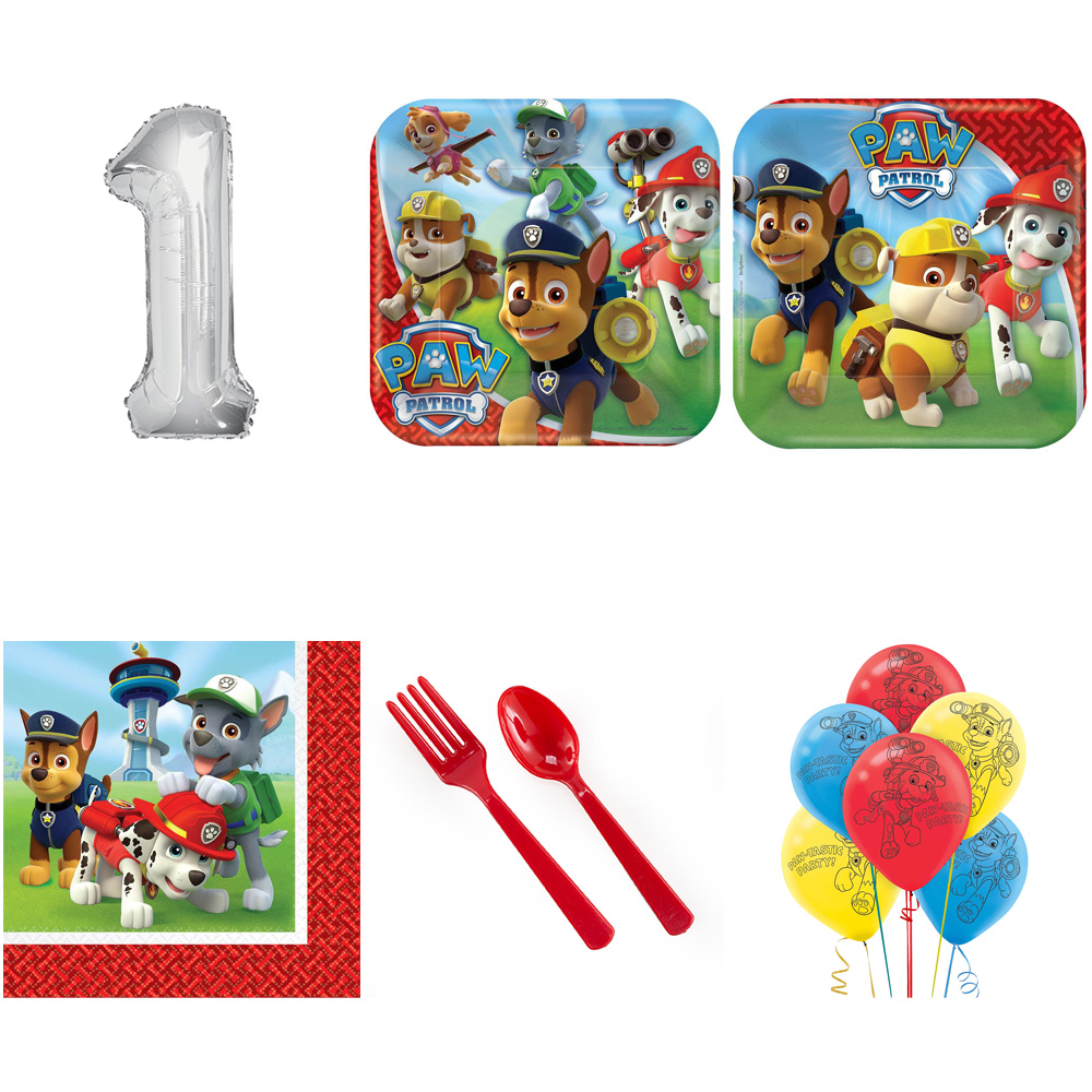 PAW PATROL PARTY SUPPLIES PARTY PACK FOR 32 WITH SILVER #1 BALLOON