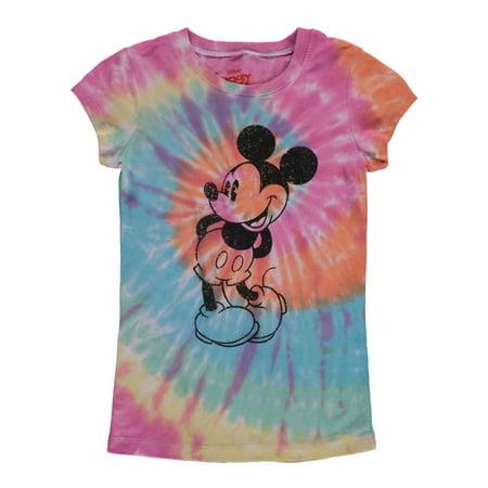 Disney Mickey Mouse Tie-Dye T-Shirt Cap Sleeve Multi-Color Slim Fit (Big Girls) Girls Skinny Fit T-shirt