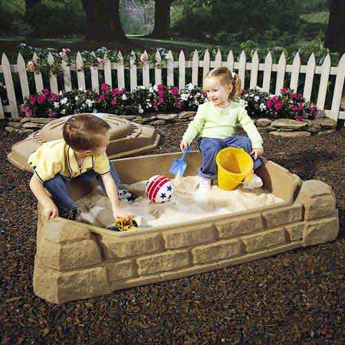 Step2 Naturally Playful 4' Rectangular Sandbox with Cover, Finish Sandstone Beige
