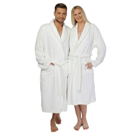 - Linum Home White Turkish Cotton Terry Bath Robe