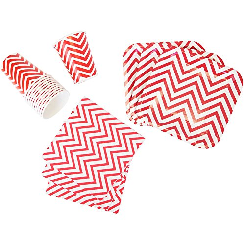 Just Artifacts Disposable Party Tableware 44pcs Chevron Pattern Dining Set (Square Plates, Cups, Napkins) - Color: Red - Decorative Tableware for Parties, Baby Showers, and Life Celebrations!
