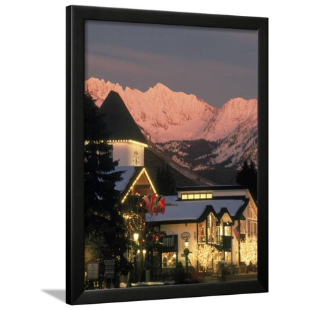Sunset on Vail Village Clock Tower and Stores, CO Framed Print Wall ...