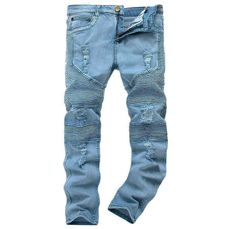 Men's Ripped Skinny Fashion Biker Destroyed Slim Fit Denim Jeans Pants (Slim Fit Jeans Ripped Men)