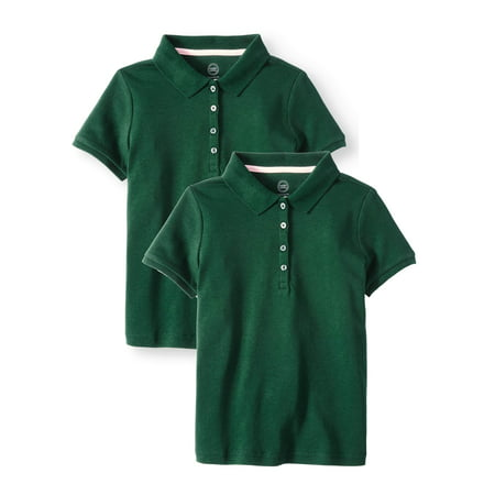 Wonder Nation Girls School Uniform Short Sleeve Interlock Polo, 2-Pack Value Bundle (Little Girls & Big