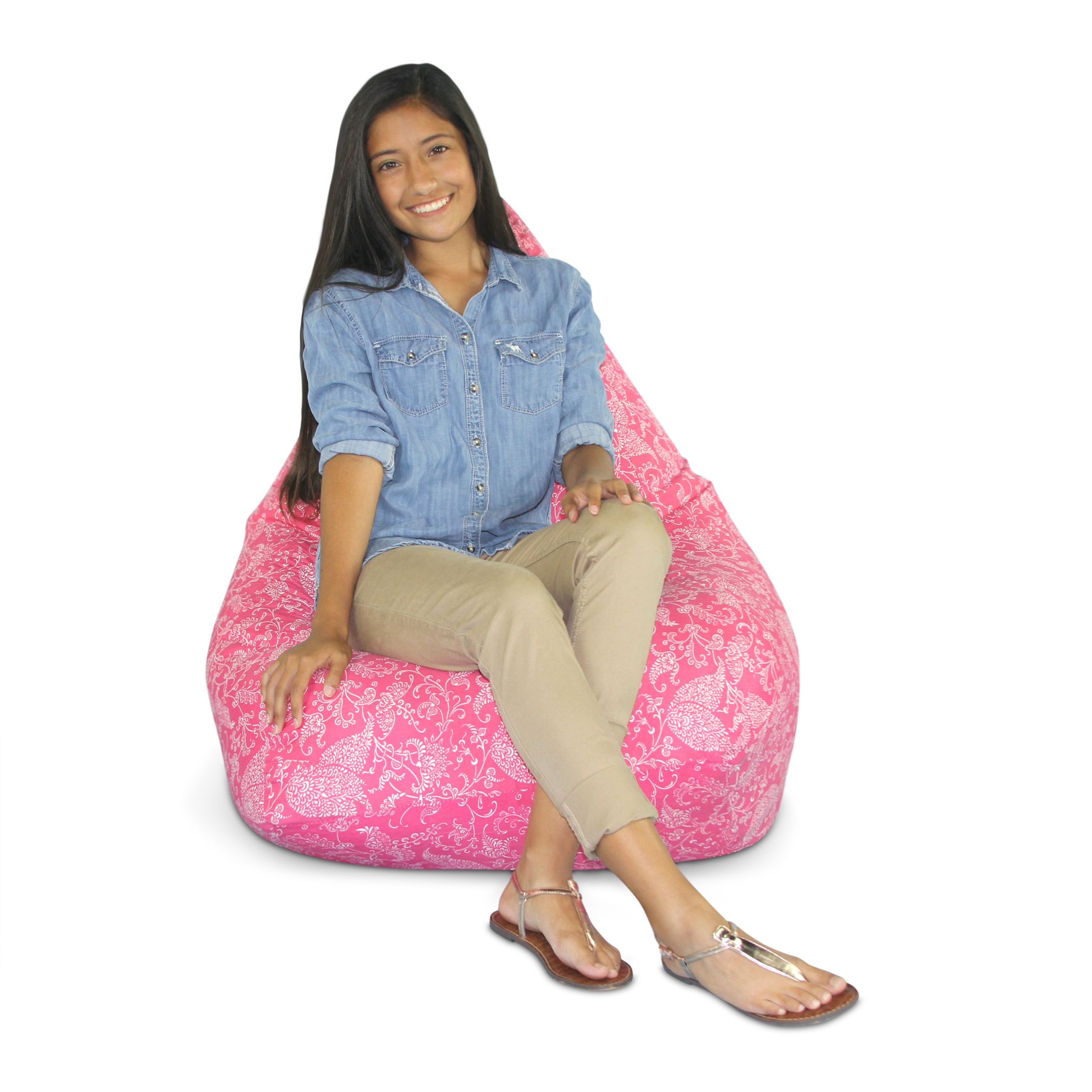 Large Pink Paisley Bean Bag