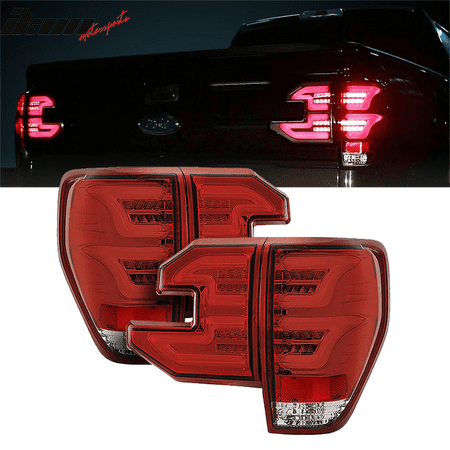 Compatible With 09 14 Ford F150 Sequential Led Tail Lights Red Lens Clear Housing