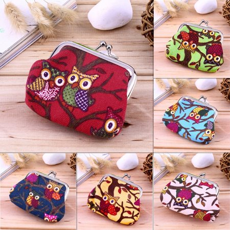 Multi-color Owl Design Coin Money Bag Purse Wallet Canvas For Women Girl Lady - image 3 of 8