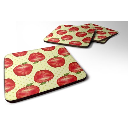 Foam Apples (Set of 4 Watercolor Apples and Polkadots Foam Coasters Set of 4)