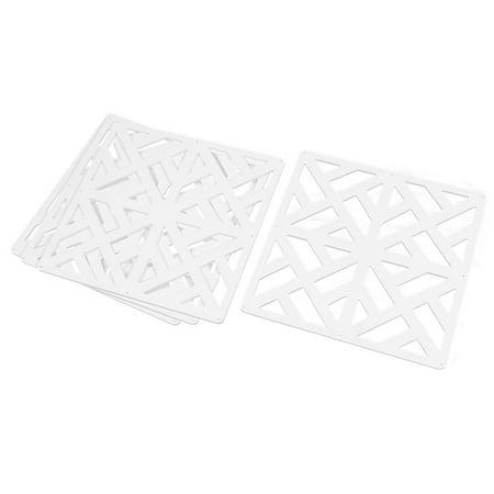 - Home Hall Geometric Pattern Curtain Panel Hanging Screen White 29cm x 29cm 4pcs