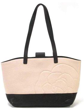 Karl Lagerfeld Paris Flora Leather Tote CREAM BLACK Handbag Bag New