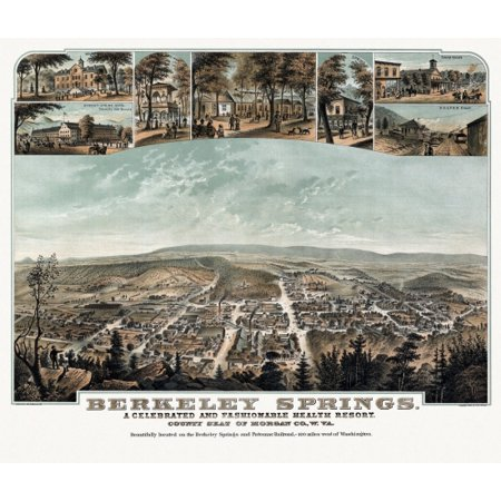 Historic Map of Berkeley Springs West Virginia 1889 Morgan County Canvas Art -  (18 x (Herbs Auto Sales Berkeley Springs West Virginia)