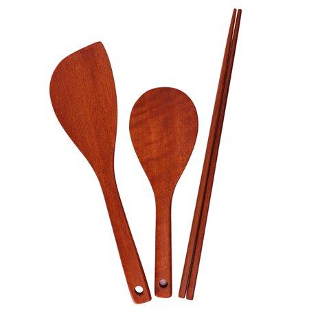 3 Pcs, Nonstick Handmade Wooden Utensil Set, (1) Corner Spoon (1) Round Paddle (1) Frying Chopsticks, Durable Safe Kitchen Cooking Tools