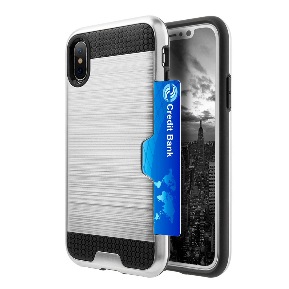 iPhone X Case with Slim Dual Layer Wallet Design and Card Slot Holder for Apple iPhone X Edition - Silver