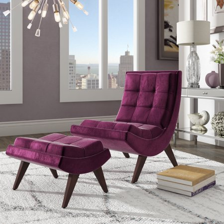Stupendous Weston Home Tufted Occasional Chair And Ottoman Purple Gmtry Best Dining Table And Chair Ideas Images Gmtryco