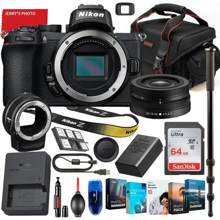 Nikon Z50 Mirrorless Digital Camera with Nikon Z DX 16-50mm Lens & FTZ Mount Adapter Bundle + Premium Accessory Bundle Including 64GB Memory, Photo/Video Software Package, Shoulder Bag & More