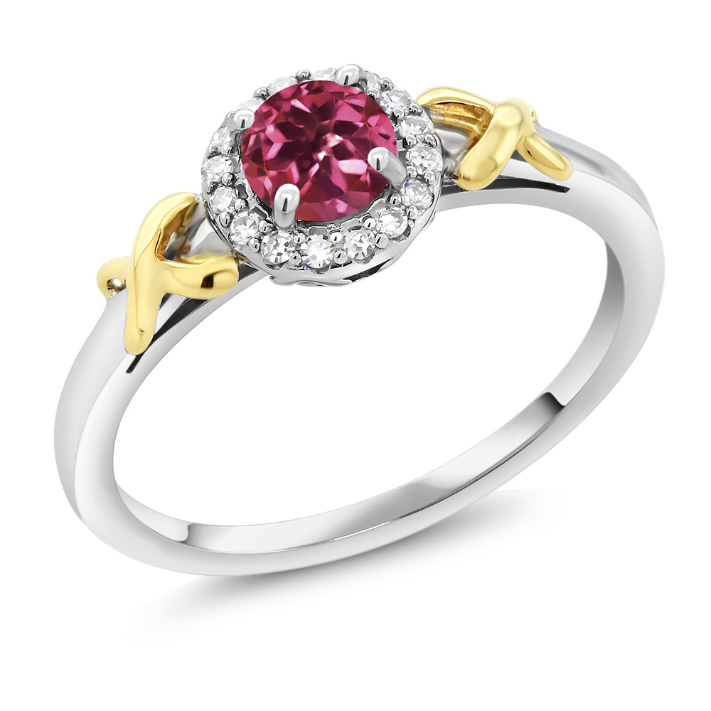 10K Two-Tone Gold 0.50 Ct Round Pink Tourmaline XOX Ring with Accent Diamonds by