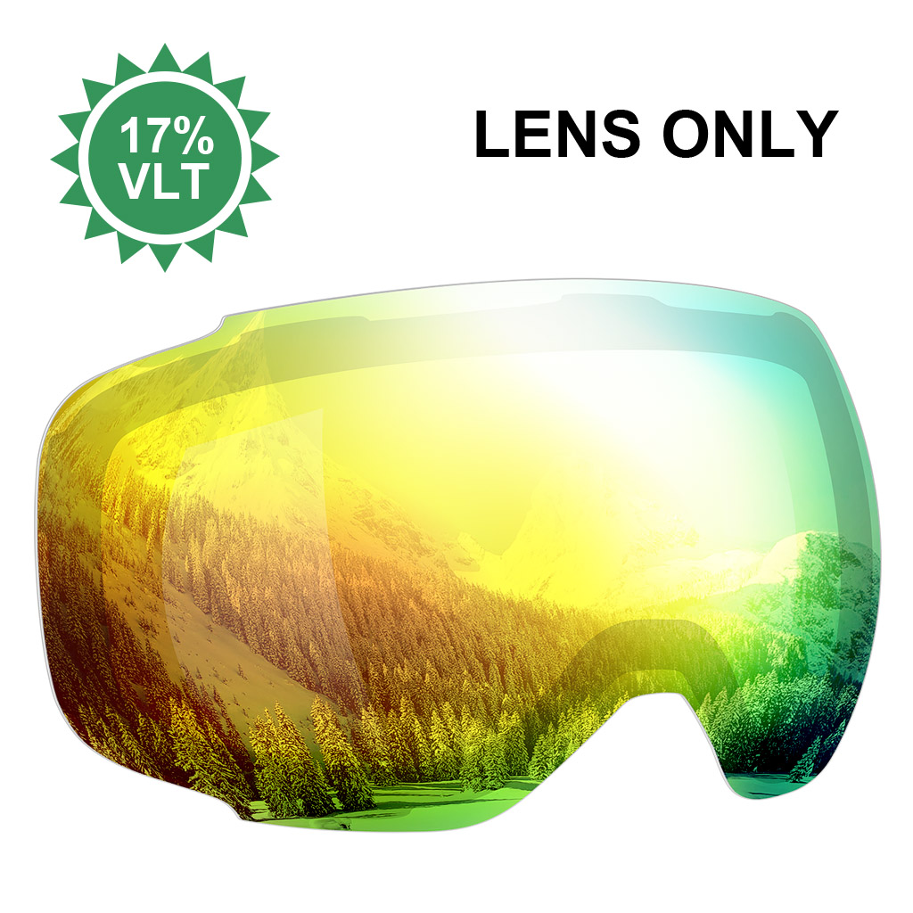 Enkeeo Ski Goggles Replacement Lenses Anti-fog 100% UV400 Protection for Skiing Snowboarding Snowmobile Skating Winter Sports RED