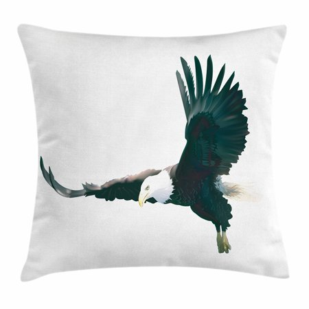 Eagle Throw Pillow Cushion Cover, Digital Art of a Huge Predator of the Skies with Aggressive Facial Expression, Decorative Square Accent Pillow Case, 16 X 16 Inches, Black White Yellow, by Ambesonne