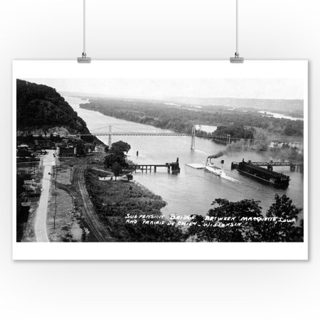 Prairie du Chien, Wisconsin - View of the Mississippi Suspension Bridge Photo (9x12 Art Print, Wall Decor Travel Poster)