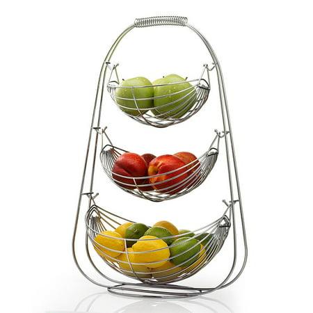 3 Tier Fruit Basket - Stainless Steel Fruit Bowl - Large Fruit Bowl - Useful For Fruit Storage Basket