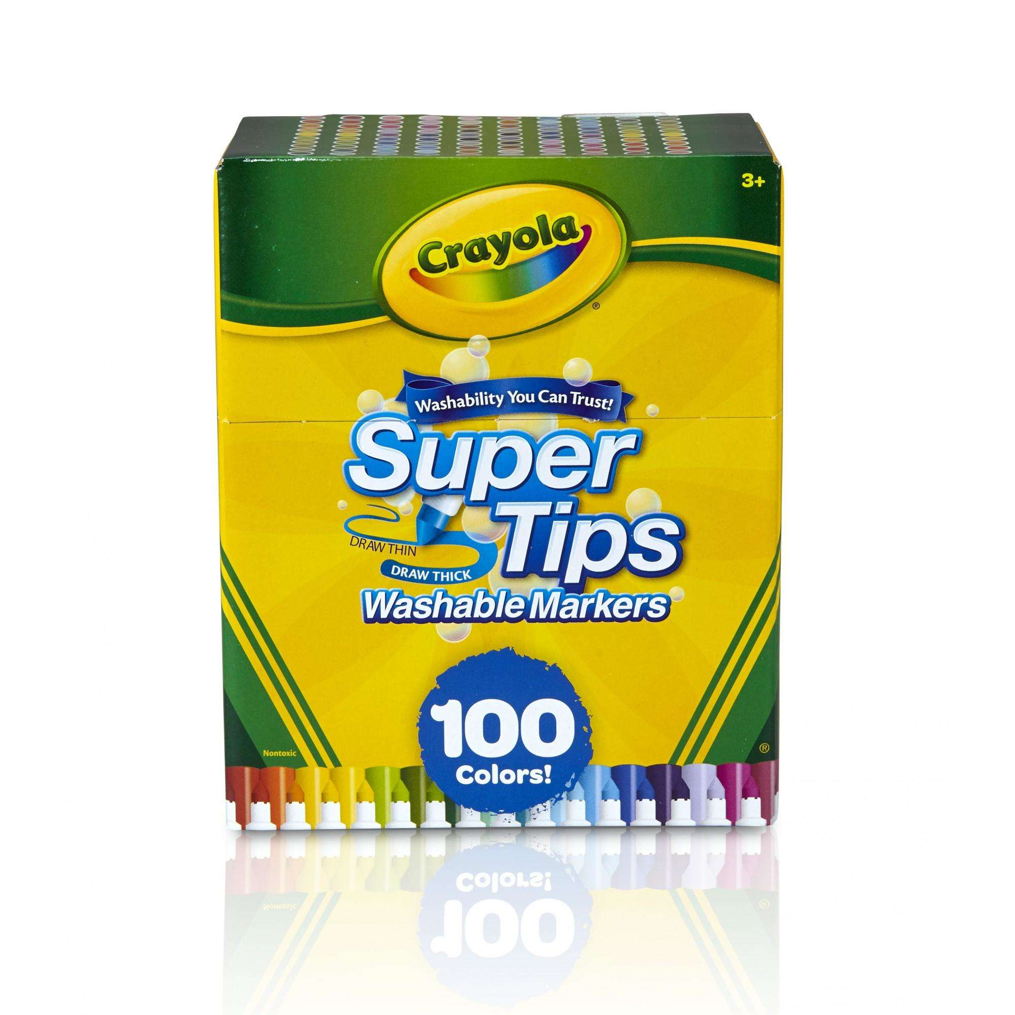 Crayola Super Tips Fine Line Washable Markers, 100 Count
