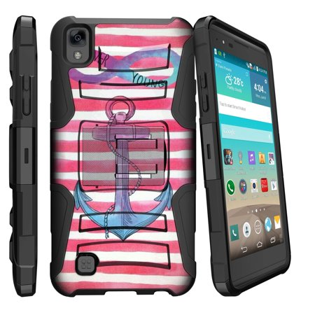 Case for LG X Power | LG K6P [ Clip Armor Series ] Holster & Belt Clip Dual-layer Combo w/ Built-in Kickstand - Pink Anchor Chevron