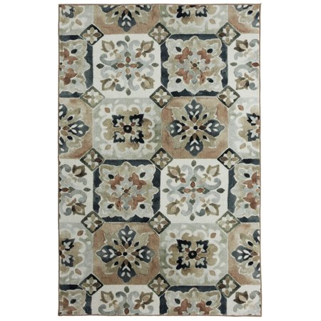 Mohawk Prismatic Area Rugs - Z0018 A261 Contemporary Gray / Linen Faded Diamonds Blocks Grid Rug 8' x 10' Rectangle